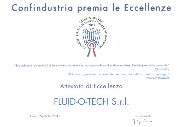 CONFINDUSTRIA CERTIFICATE OF EXCELLENCE