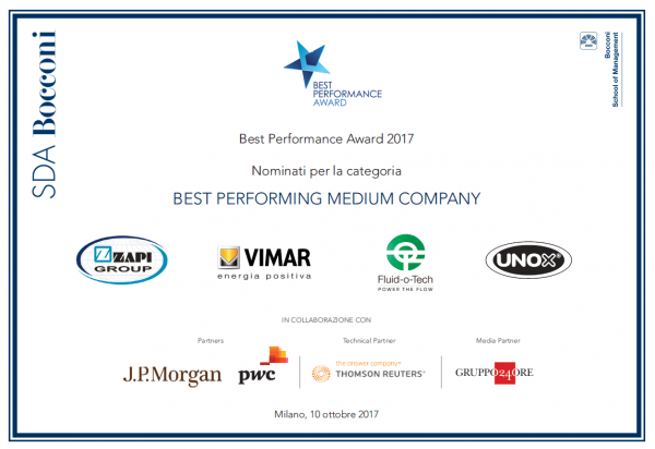 FINALISTA BEST PERFORMANCE AWARD 2017